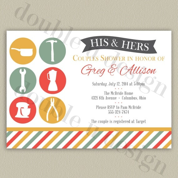 His Hers Wedding Invitations Templates: His And Hers Couples Wedding Shower Invitation Printable