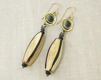 Long Horn Earrings, Black Tan Earrings, Boho Long Tribal Earrings, Long Dangle Earrings |EC3-26