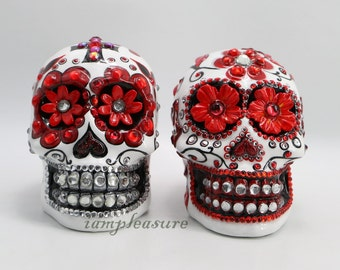 Skull Mexican white and red day of dead weddings cake topper handmade bride and groom
