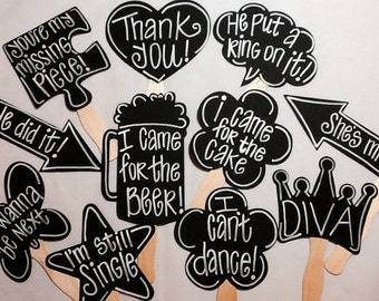 10 BLANK Chalkboard Photo booth  Props Glued to 8 Inch Curvy Sticks with Personality