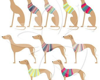 Greyhound Digital Clip Art Clipart Set - Personal and Commercial Use