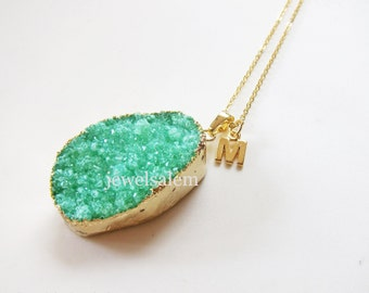 Druzy Necklace Personalized Gift Jewelry Gemstone Aqua Teal Mint Green Initial Name Gem Stone Gold Layered Long Drusy Rustic Statement