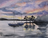 Original Watercolor Painting of Seascape at Night with Setting Sun