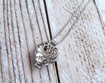 SALE Heart Personal Diffuser Necklace, frangrance locket, essential oils, personal diffuser necklace, oil locket, diffuser pendant