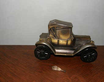 Vintage Banthrico Inc of Chicago Illinois Metal Model T Bank With Key