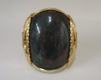 Gold Filled Wire Wrapped Ring Bloodstone Wire Wrap Ring 14kt Gold Fill