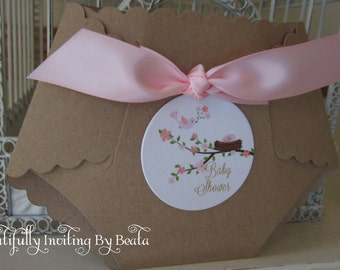 Shabby Birdie Themed, Nesting Baby Shower  - Custom Diaper Die Cut with Kraft card stock outer cover