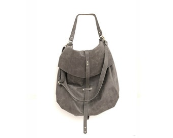Classic Handmade Leather Handbag in Grey, Womens Large Carryall Purse, Oversized Leather Sack Pack, Slouchy Designer Bag, Womens Fashion