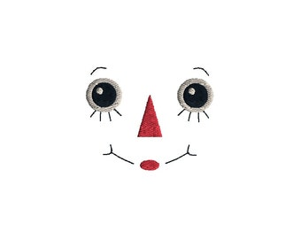 Raggedy Ann or Andy Face Machine Embroidery Design-INSTANT DOWNLOAD