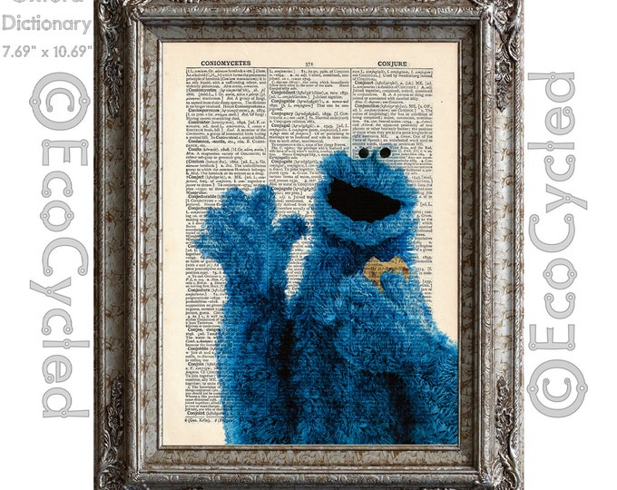Cookie Monster Vintage Upcycled Dictionary Art Print Book Art Print Sesame Street C is for Cookie upcycled book page book lover gift