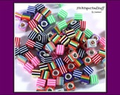 Multi Color Stripes Acrylic Square European Style Beads with Sterling Silver Cores 8mm - set of 15 - Destash Beads - Large Hole Bead Supply