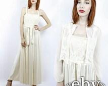 Hippie Wedding Dress Boho Wedding Dress 70s Wedding Dress Vintage 70s Cream Lace Wedding Dress + Jacket