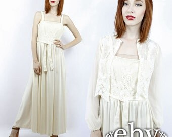 Hippie Wedding Dress Boho Wedding Dress 70s Wedding Dress 1970s Wedding Dress Hippy Wedding Dress Vintage 70s Cream Lace Wedding Dress Set