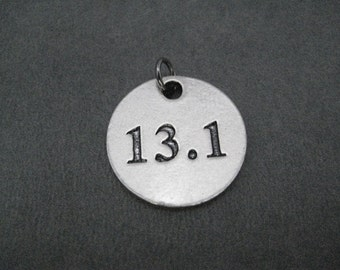 13.1 Half Marathon Round Pewter Pendant Charm - The Run Home's 13.1 Half Marathon Charm available only at The Run Home - ONE (1) 13.1 Charm