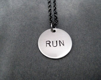 RUN Round Pendant Necklace - Running Necklace with Round Run Charm on Gunmetal chain - Runner - Running Jewelry - Runner Necklace - Just Run