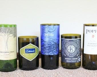 Set of 5 Wine Bottle Candle Holders, Cut Wine Bottle, Romantic Tabletop, Wedding Decor,  #475 Set 2
