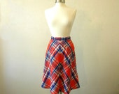 60s Plaid Skirt / Cute A Line Midi Skirt / Preppy Clothing / A Line Skirt Medium