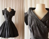RESERVED FOR MICHELLE 50s Dress // 1950s Grey Plaid Dress // Collar Cocktail Dress // 50s Party Pleated Dress