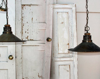 2 Vintage Antique Brass Industrial Farmhouse Pendant Light Fixtures  By Foo Foo La La