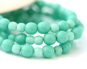 Small beads czech glass beads mix Turquoise green for jewelry making - round spacers, druk, small - 4-3mm - approx.100Pc - 0479