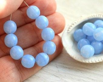 Opal Blue round beads, czech glass beads, blue beads - druk, 8mm - 20Pc - 1327