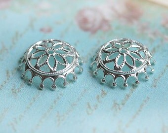 Filigree bead caps, Silver, flower ornate, 12mm - 2Pc - F103