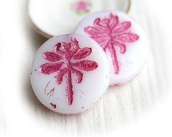 Dragonfly czech glass beads - glitter Pink on White beads - flat, large, round, tablet shape - 23mm - 2Pc - 0829