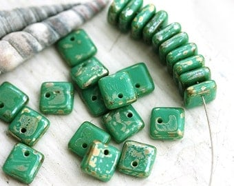 Turquoise Green Picasso Czech glass beads, square spacers for jewelry making, top drilled - 6mm - 30Pc - 1002