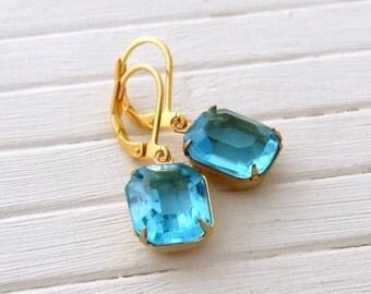 Turquoise Earrings .. aqua, blue glass earrings