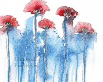 Handpainted Greeting card, Handmade, Pink Poppies,  Watercolor Card, Any occasion, Valentine's day, Blank, under 10, Handmade Exclusives
