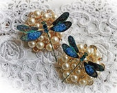 Reneabouquets Dragonfly Set ~ Peacock Feather Dragonflies,  Scrapbook Embellishment, Wedding, Home Decor, Party Decoration