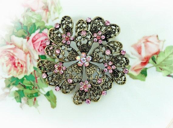 Reneabouquets Trinket Large Vintage Elegance Pink Rhinestone