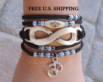 Infinity wrap, Vegan bracelet, Suede wrap, Lotus, Boho wrap,  Yoga wrap bracelet,  Reiki Charged, Infinity bracelet, yoga bracelet, vegan