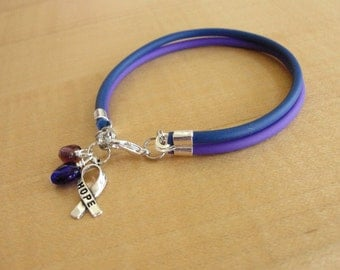 Purple and Blue Awareness Bracelet - Rubber - Rheumatoid Arthritis / RA & Pediatric Stroke
