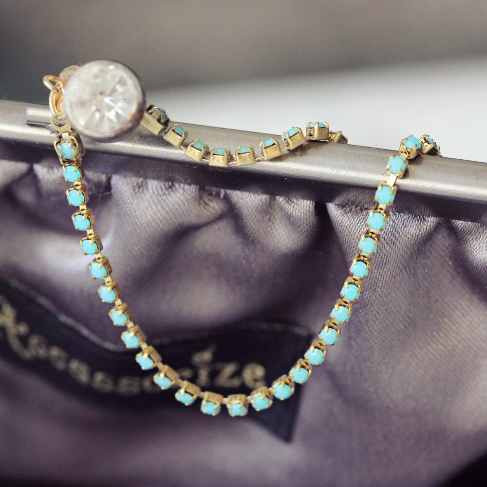 Turquoise Rhinestone Bracelet - Dainty Bracelet - Gold Diamante Bracelet - Delicate Bracelet - Gift for Wife - Delicate Jewelry