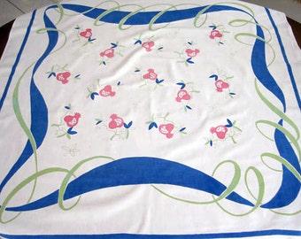 "Vintage 1950's  Simtex Tablecloth, Mod White, Blue Lime Green Ribbons Border, Pink Fruit 54"" x 50"""