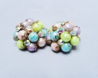 Vintage Earrings 50s 60s Pastels Balls Iridescent Crystal Rhinestone and Gold Trim Clip On