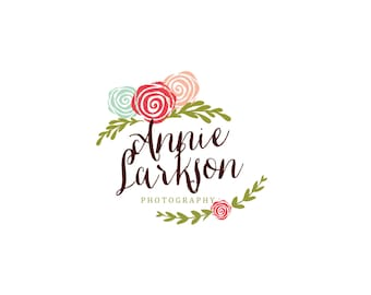 Custom Logo Designer Premade Logo and Watermark for Photographers and Small Crafty Boutiques Hand Drawn Floral Flourish Shabby Chic Vintage