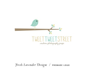 Custom Logo Design Personalized Premade Logo for Photographers and Small Businesses Chickadee Bird on a Branch Vintage Shabby Chic