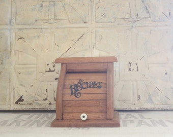Vintage Solid Wood Roll Top Recipe Card Holder Box