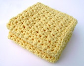 Crochet Washcloth Dishcloth Bathroom Dish Cloth Wash Cloth Spa Cloth Kitchen Yellow Set of 2 d