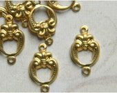 Raw Brass Fleur Connector, Victorian Style Link Stamping 9mm x 15mm - 6 pcs. (r191)