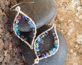 Sterling Silver Wire Wrapped Swarovski Crystal Earrings, Luxe, Mother's Day, Sale