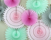 Birthday Party Decorations - 8 Tissue Paper Fans Decor Kit , baby showers, children's birthday parties , bridal showers