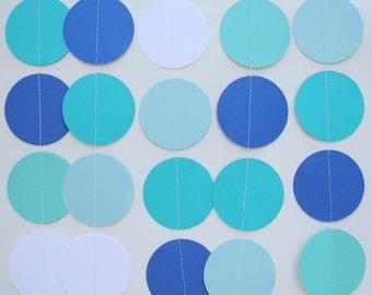 Birthday Party Decorations, Paper Garland . 5 Feet Long . aqua, teal, royal blue, white