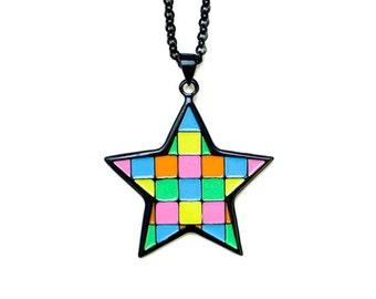 Mosaic Star Pendant Necklace