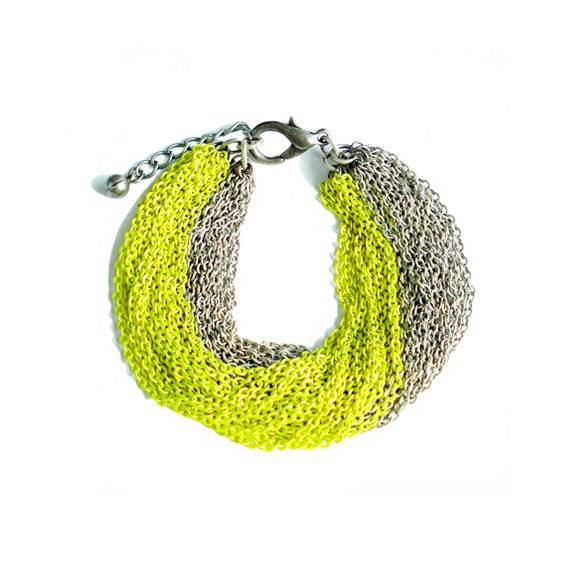 Early Holiday Sale - Multi Strand Chain Bracelet - Neon Yellow