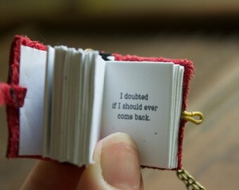 Book Necklace with Poem Writing for book lover teacher librarian English novel pendant The Road Not Yet Taken