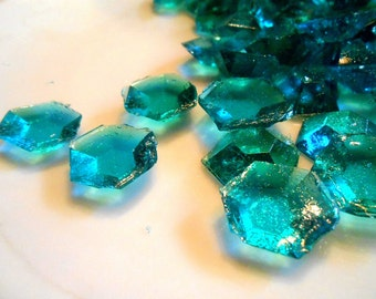 Teal Edible Sugar Diamonds Jewels Gems Barley Sugar Hard Candy