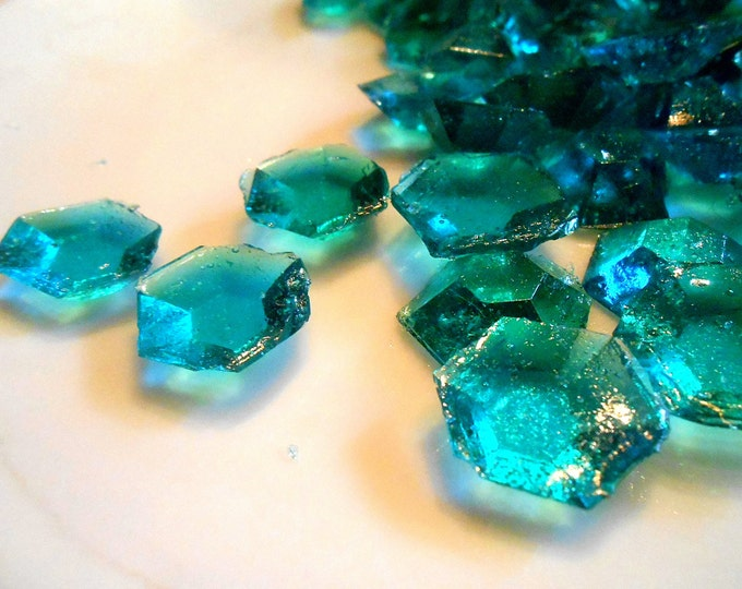 Teal  Edible Sugar Diamonds Jewels Gems Barley Sugar Hard Candy 60/120/240